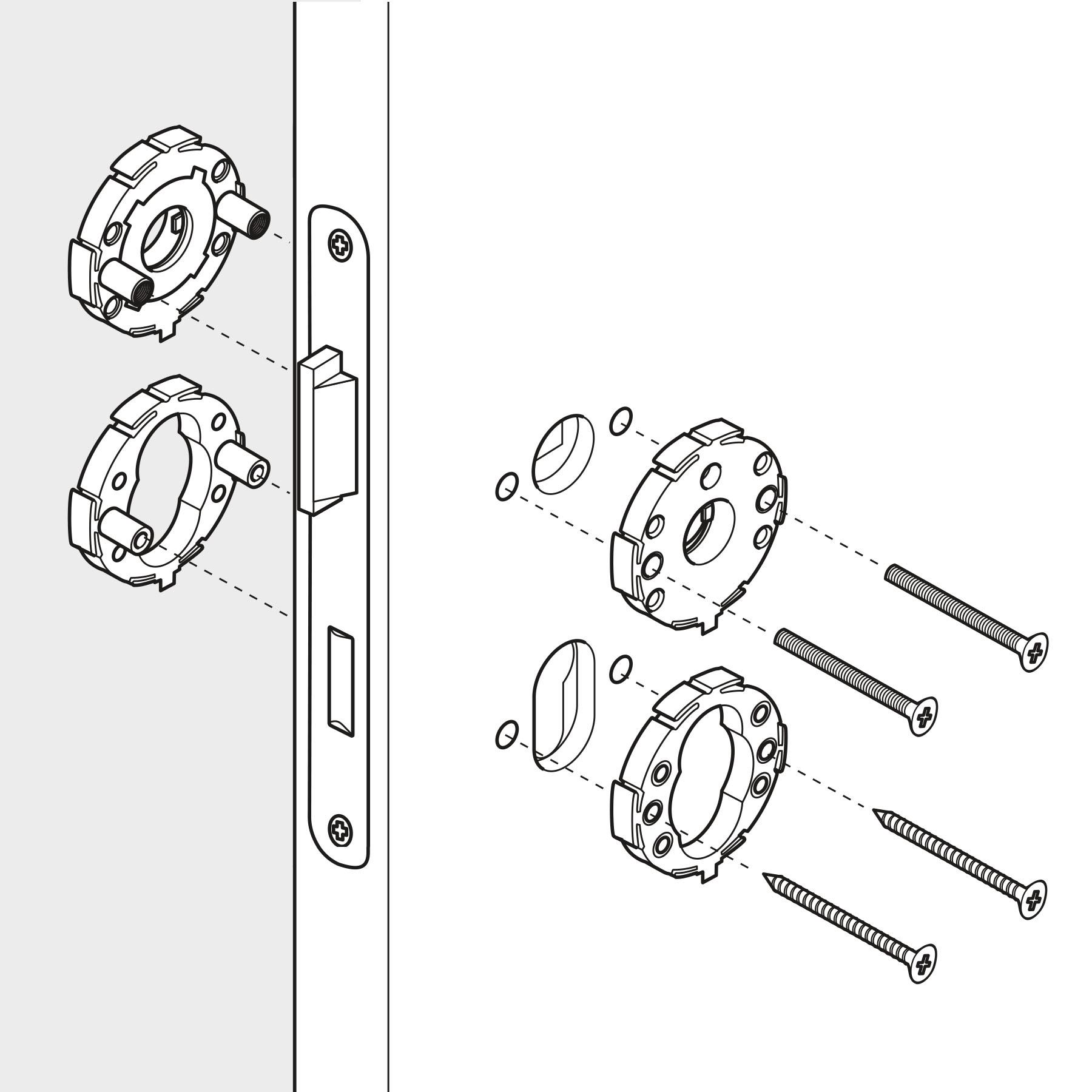 Illustration Strichzeichnung Montageschritt Beschlag Schritt1