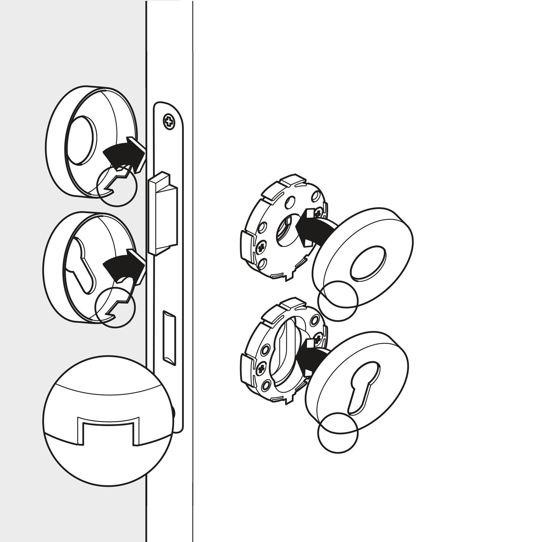 Illustration Strichzeichnung Montageschritt Beschlag Schritt 2